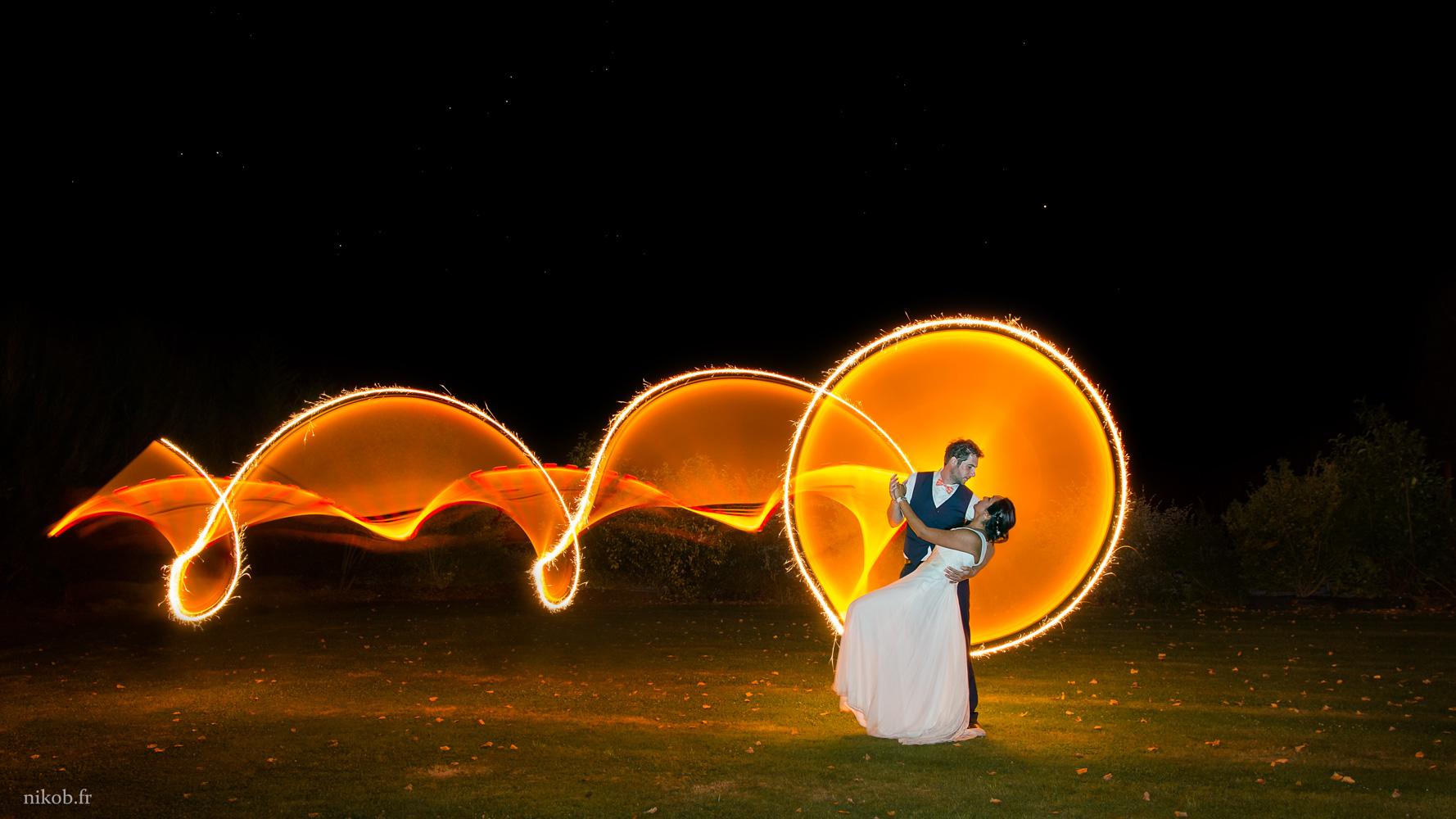 Lightpainting mariage